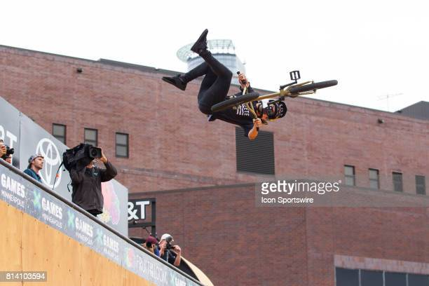 Coco Zurita flips during the BMX Vert Final at X Games on July 13 2017 at US Bank Stadium in Minneapolis Minnesota