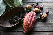 Cocoa bean and nutmeg on the Isle of Grenada in the lesser antilles