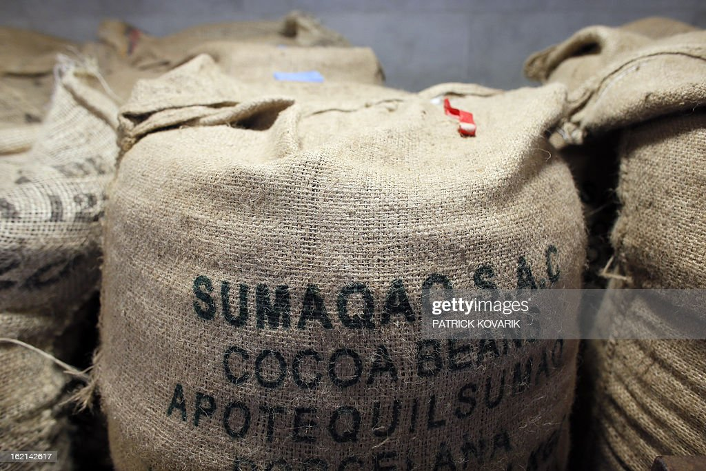 Cocoa beans bags are pictured at French chef Alain Ducasse's new Manufacture de chocolat (Chocolate Factory), on February 19, 2013 in Paris.