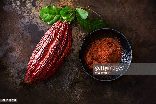 Cocoa pod and bowl of cocoa on rusty ground