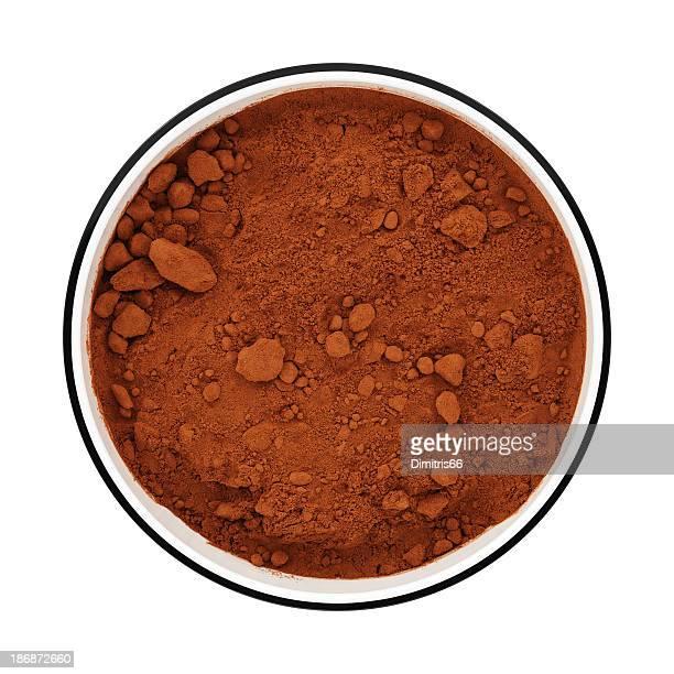 Kakaopulver in einer Schüssel von Draufsicht