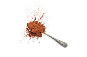 Top view of a metal spoon with cocoa powder shot on white background. Predominant colors are brown and white. Useful copy space available for text and/or logo. High key DSRL studio photo taken with Ca