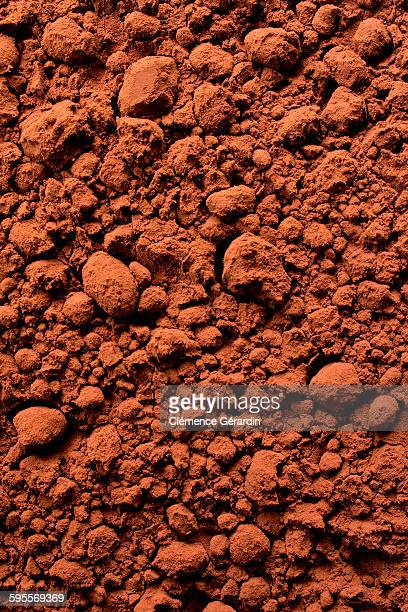 Cocoa powder textured top view detail