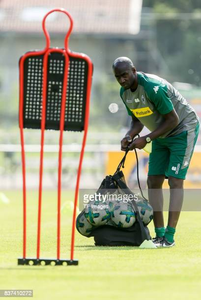 Cocoach Otto Addo of Borussia Moenchengladbach controls the ball during a training session at the Training Camp of Borussia Moenchengladbach on July...