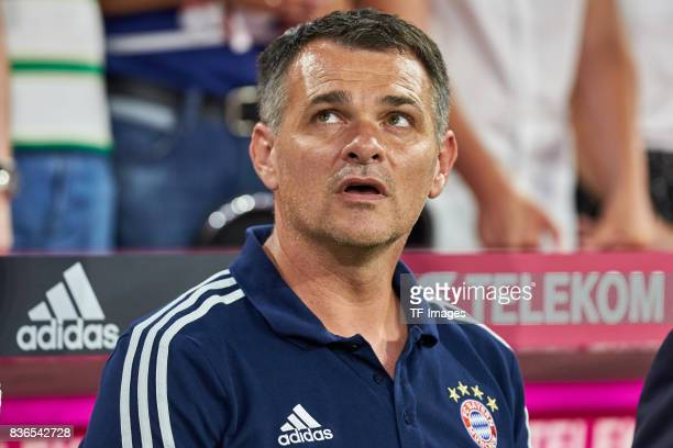 Cocoach Willy Sagnol of Muenchen looks on during the Bundesliga match between FC Bayern Muenchen and Bayer 04 Leverkusen at Allianz Arena on August...