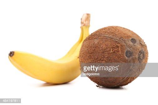 Coco y plátano. : Foto de stock