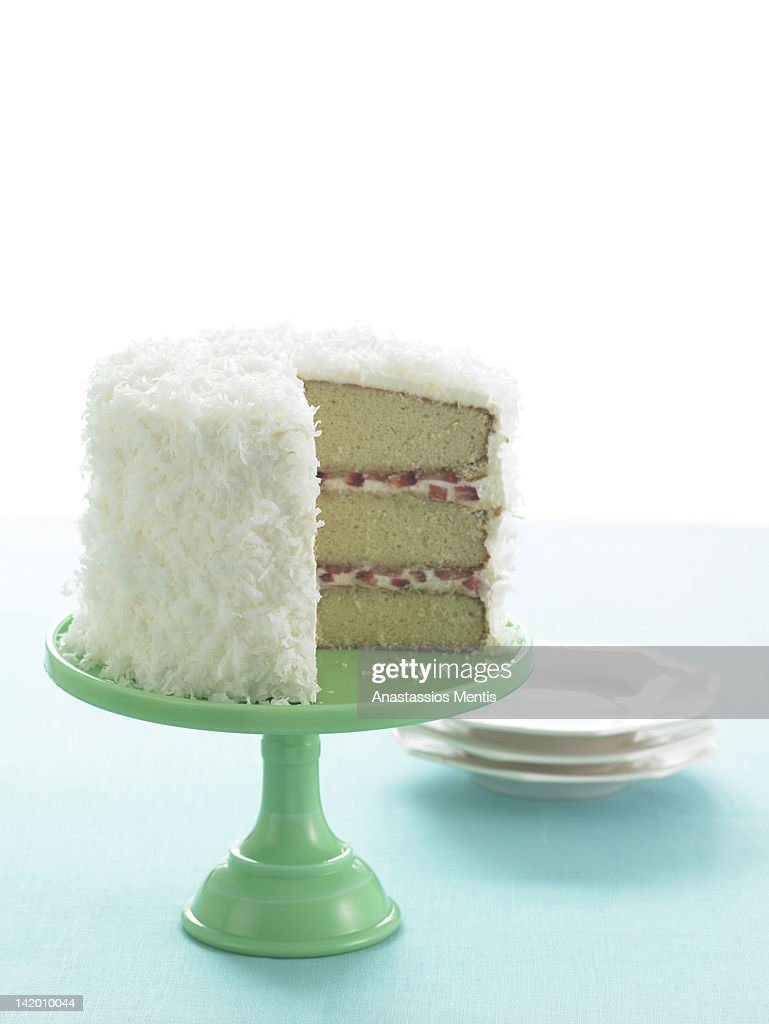 Coconut cake on stand : Stock Photo