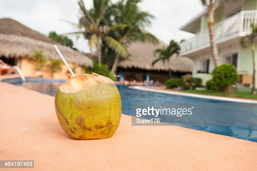 Coconut Drink Poolside : Stock Photo