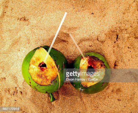 Coconut Drinks On Sand