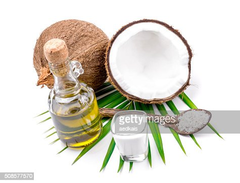 Coconut milk and coconut oil : Bildbanksbilder