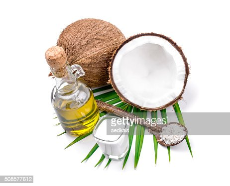 Kokosmilch und Kokos-Öl : Stock-Foto