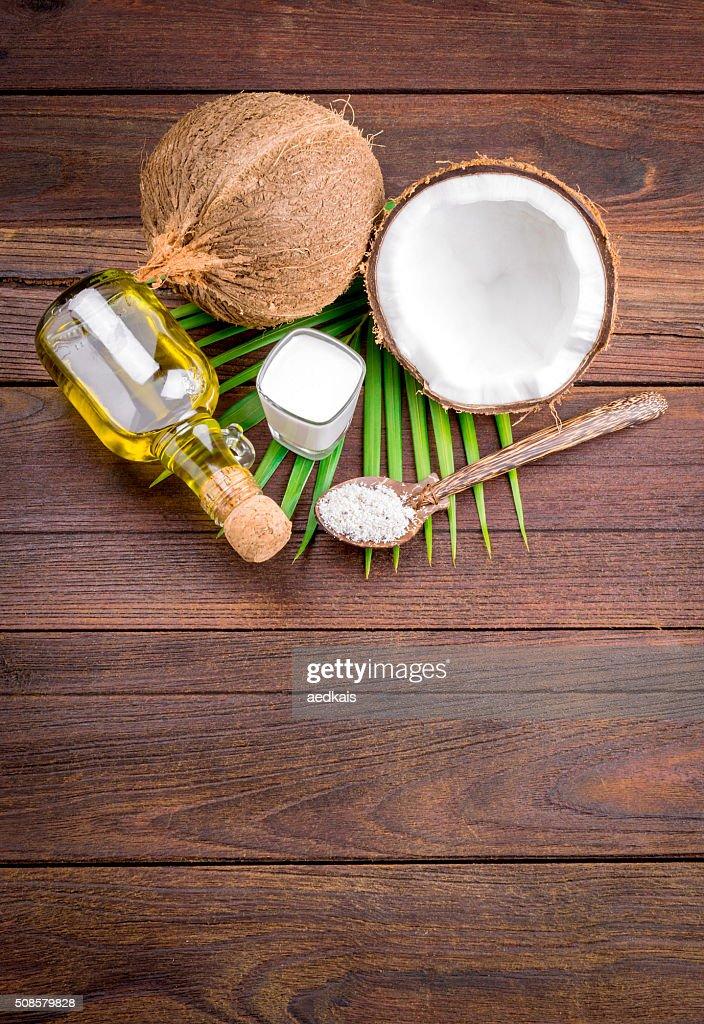 Coconut milk and coconut oil : Stock Photo