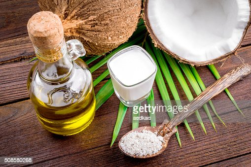 Coconut milk and coconut oil : Stockfoto