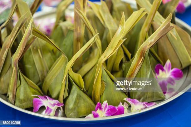Coconut milk dessert in banana leaf