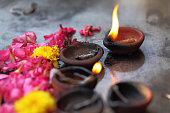 Coconut oil lamps in kapaleeswarar temple, chennai ,India.