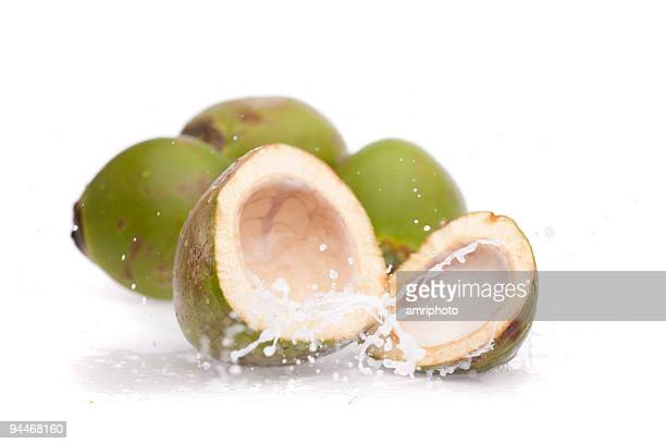 coconut water splashing from fresh cut nut