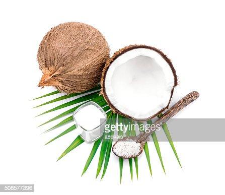 Noci di cocco e latte di cocco : Foto stock