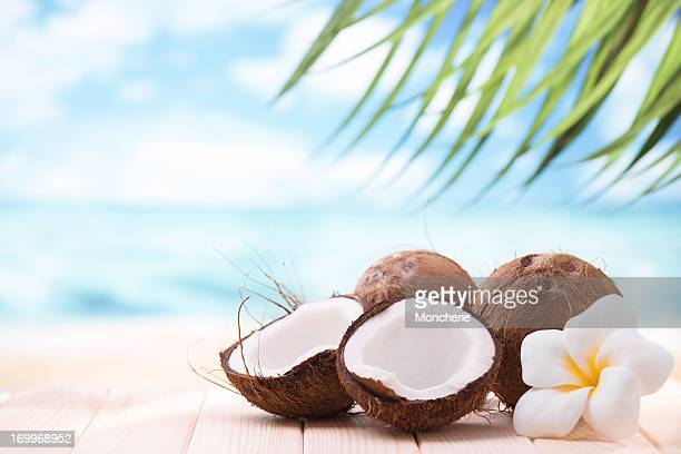 Coconuts on the beach con espacio de copia