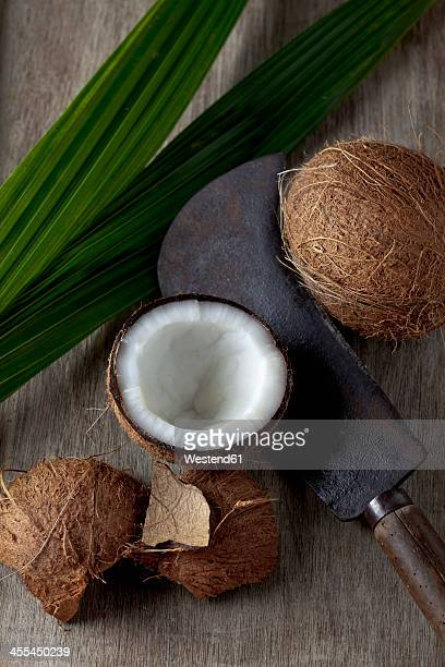 Coconuts with sickle, close up