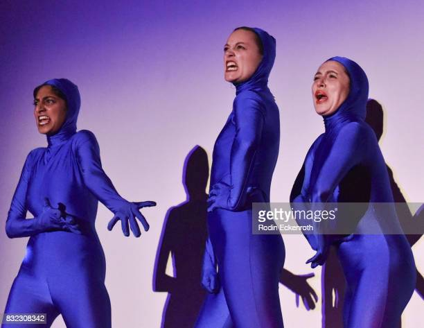 Cocoon Central Dance Team's Sunita Mani Eleanore Pienta and Tallie Medel perform onstage at the screening of 'Snowy Bing Bongs' at The CineFamily on...
