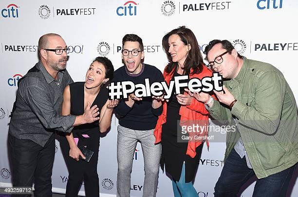 Cocreator and writer Graeme Manson and cast members Tatiana Maslany Jordan Gavaris Marie Doyle Kennedy and Kristian Bruun attend a screening of...