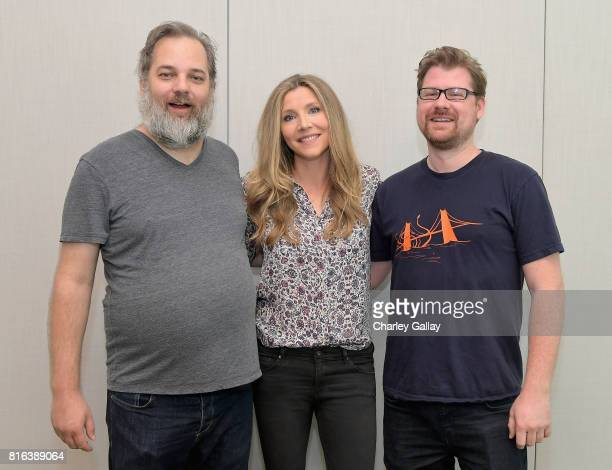 Cocreator Dan Harmon actor Sarah Chalke and Cocreator Justin Roiland at the 'Rick and Morty' LA Press Junket on July 17 2017 in Los Angeles...