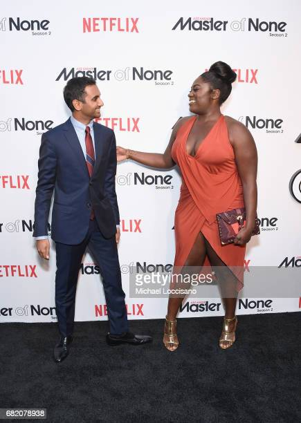 Cocreator Executive Producer Actor Aziz Ansari and actress Danielle Brooks attend the Netflix Master Of None S2 Premiere NY Screening 2017 on May 11...