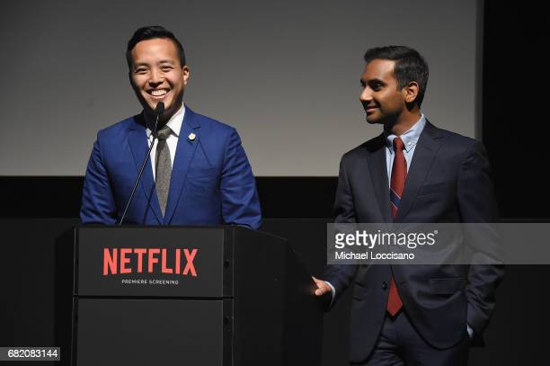 Cocreator Executive Producer Alan Yang and Cocreator Executive Producer Actor Aziz Ansari speak onstage during the Netflix Master Of None S2 Premiere...