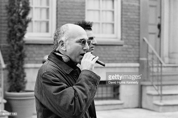 Cocreator Larry David on the set of shooting the last few episodes of the hit television show Seinfeld 1998 in Los Angeles California