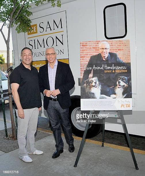CoCreator of 'The Simpsons'/Presidents Circle Member of PETA Sam Simon and Doctor and TV Host Dr Drew Pinsky unveil the New PETA Campaign Lifsaving...