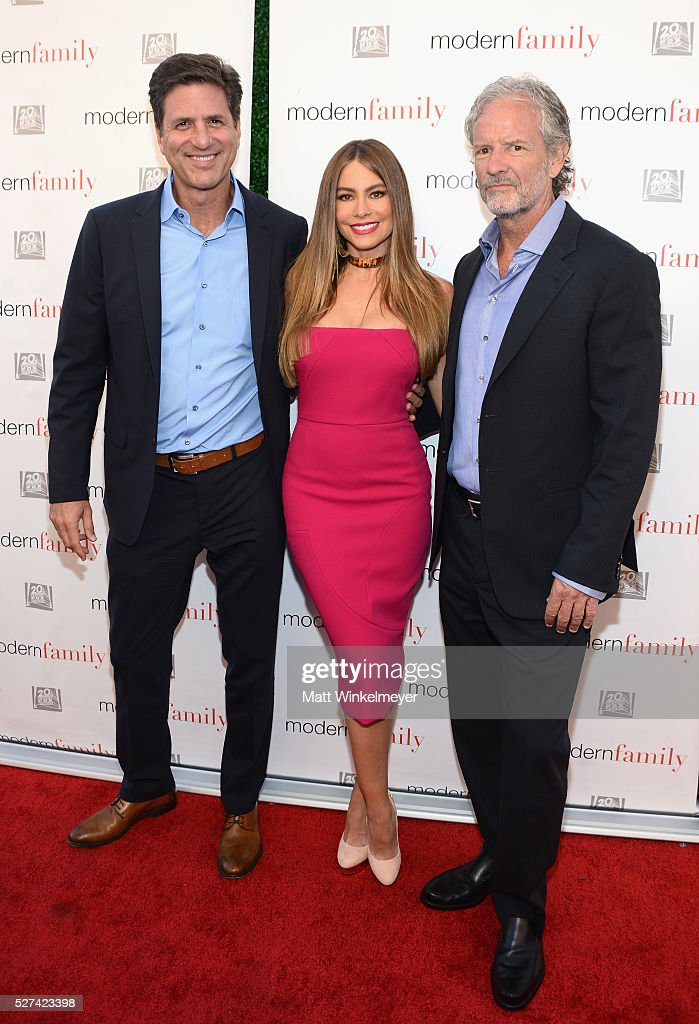Co-creator <a gi-track='captionPersonalityLinkClicked' href=/galleries/search?phrase=Steven+Levitan&family=editorial&specificpeople=3219544 ng-click='$event.stopPropagation()'>Steven Levitan</a>, actress <a gi-track='captionPersonalityLinkClicked' href=/galleries/search?phrase=Sofia+Vergara&family=editorial&specificpeople=214702 ng-click='$event.stopPropagation()'>Sofia Vergara</a> and co-creator Christopher Lloyd attend ABC's 'Modern Family' ATAS Emmy Event at Fox Studios on May 2, 2016 in Los Angeles, California.