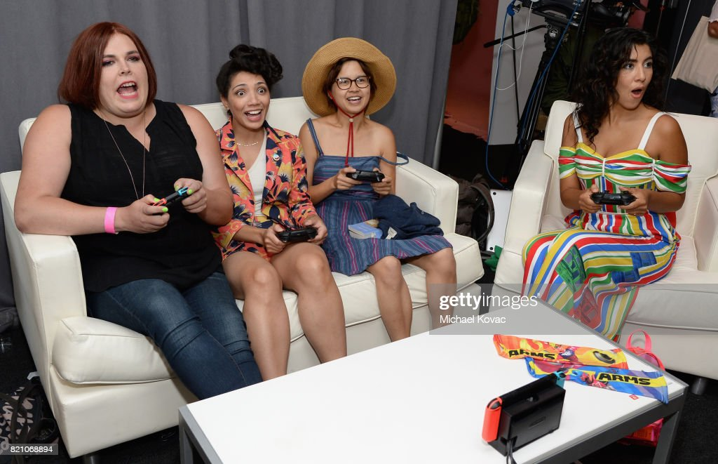 Co-creator/comic strip author Shadi Petosky, actors Jasika Nicole, Charlyne Yi, and Stephanie Beatriz from the television series Danger & Eggs stopped by Nintendo at the TV Insider Lounge to check out Nintendo Switch during Comic-Con International at Hard Rock Hotel San Diego on July 22, 2017 in San Diego, California.