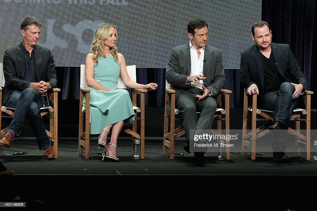 Co-creator/Executive producer Tim Kring, actors Anne Heche, Jason Isaacs and Co-creator/Executive producer Gideon Raff speak onstage at the 'Dig' panel during the NBCUniversal USA Network portion of the 2014 Summer Television Critics Association at The Beverly Hilton Hotel on July 14, 2014 in Beverly Hills, California.