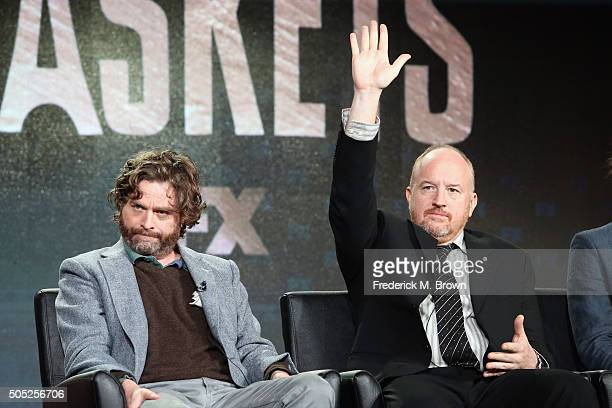 CoCreator/Executive Producer/Actor Zach Galifianakis and CoCreator/Executive Producer Louis CK speak onstage during 'Baskets' panel discussion at the...