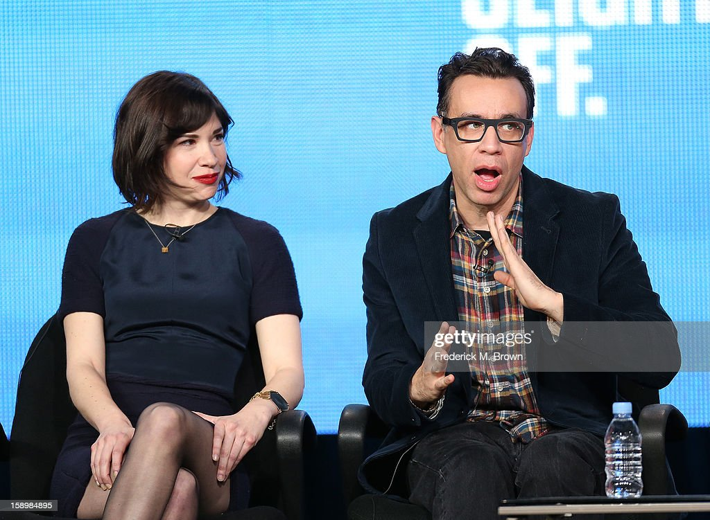 Co-Creators & actors Carrie Brownstein (L) and Fred Armisen speak onstage during the 'Portlandia ' panel discussion at the IFC portion of the 2013 Winter TCA Tourduring 2013 Winter TCA Tour - Day 1 at Langham Hotel on January 4, 2013 in Pasadena, California.