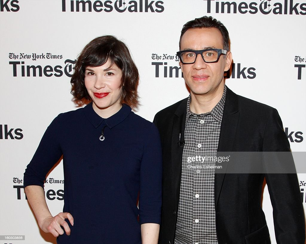Co-creators/co-writers <a gi-track='captionPersonalityLinkClicked' href=/galleries/search?phrase=Carrie+Brownstein&family=editorial&specificpeople=870017 ng-click='$event.stopPropagation()'>Carrie Brownstein</a> and <a gi-track='captionPersonalityLinkClicked' href=/galleries/search?phrase=Fred+Armisen&family=editorial&specificpeople=221426 ng-click='$event.stopPropagation()'>Fred Armisen</a> attend New York Times TimesTalks Presents: 'Portlandia' at TheTimesCenter on January 28, 2013 in New York City.