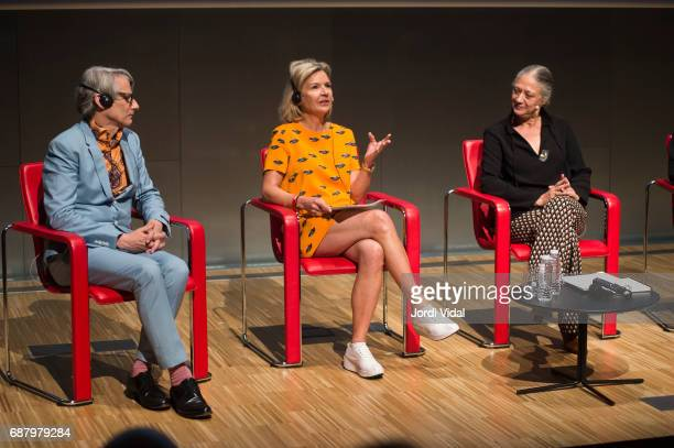 Cocurators Geoffrey Marsh and Victoria Broackes and Museum Director Pilar Velez during the press confference for the Exhibition 'David Bowie Is' at...