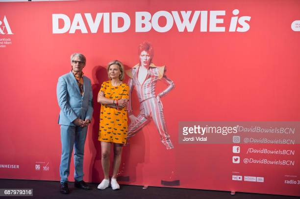 Cocurators Geoffrey Marsh and Victoria Broackes during the photocall for the Exhibition 'David Bowie Is' at Museu Del Disseny on May 24 2017 in...