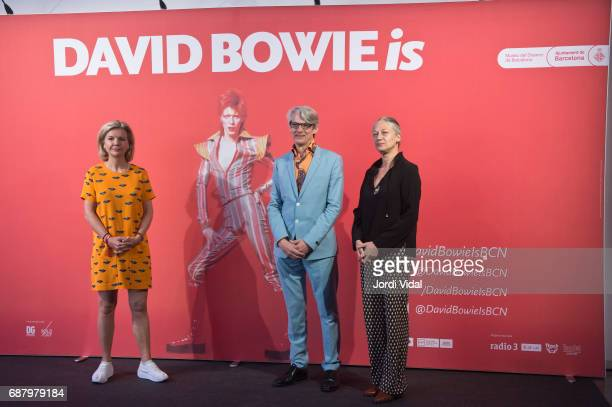 Cocurators Victoria Broackes and Geoffrey Marsh and Museum Director Pilar Velez during the photocall for the Exhibition 'David Bowie Is' at Museu Del...