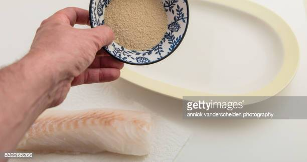 Cod, breadcrumbs and breading plate.