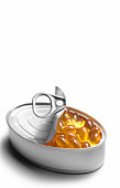 Cod liver oil capsules in tin