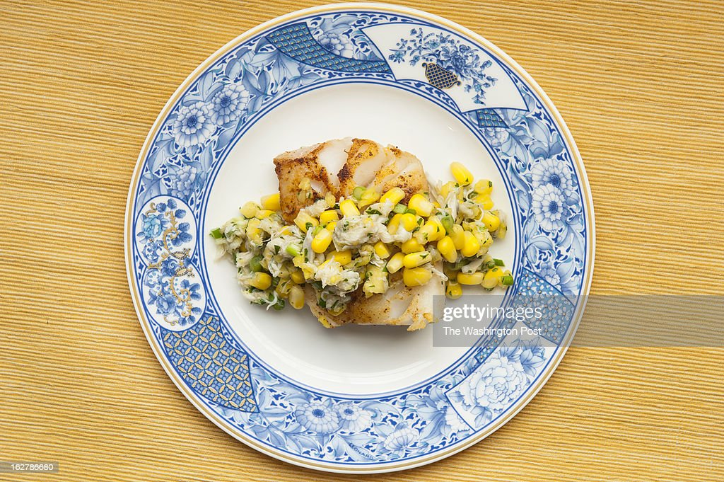 Cod with a Crab, Corn and Pineapple Salad is photographed for the Nourish column Wednesday, February 6, 2013 in Vienna, VA.