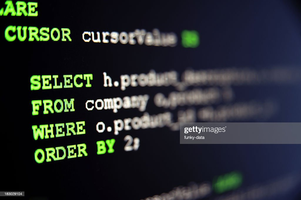 SQL code on black : Stock Photo
