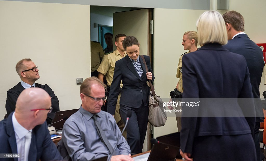 Co-defendant <a gi-track='captionPersonalityLinkClicked' href=/galleries/search?phrase=Beate+Zschaepe&family=editorial&specificpeople=8630982 ng-click='$event.stopPropagation()'>Beate Zschaepe</a> (C) and her lawyers <a gi-track='captionPersonalityLinkClicked' href=/galleries/search?phrase=Wolfgang+Heer+-+Lawyer&family=editorial&specificpeople=14887066 ng-click='$event.stopPropagation()'>Wolfgang Heer</a> (R) and <a gi-track='captionPersonalityLinkClicked' href=/galleries/search?phrase=Anja+Sturm&family=editorial&specificpeople=10879931 ng-click='$event.stopPropagation()'>Anja Sturm</a> (2-R) arrive for another day of the NSU neo-Nazi murders trial on June 30, 2015 in Munich, Germany. Zschaepe is the chief defendant among five people accused of assisting Mundlos and Boehnhardt in their eight-year murder spree that targeted nine immigrants and one policewoman.