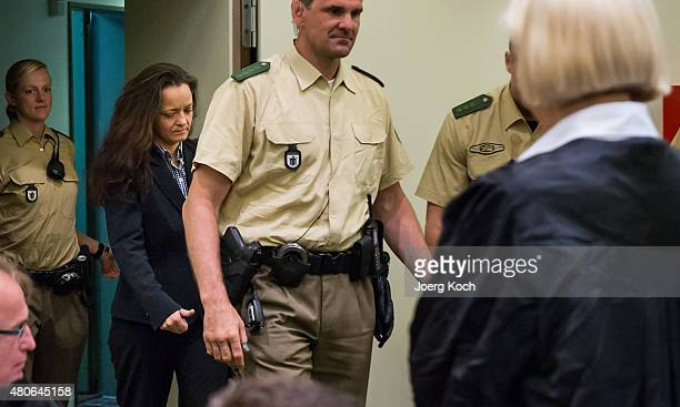 Codefendant Beate Zschaepe arrives for another day of NSU neoNazi murders trial in Oberlandesgericht in Munich on July 14 2015 Zschaepe is the chief...