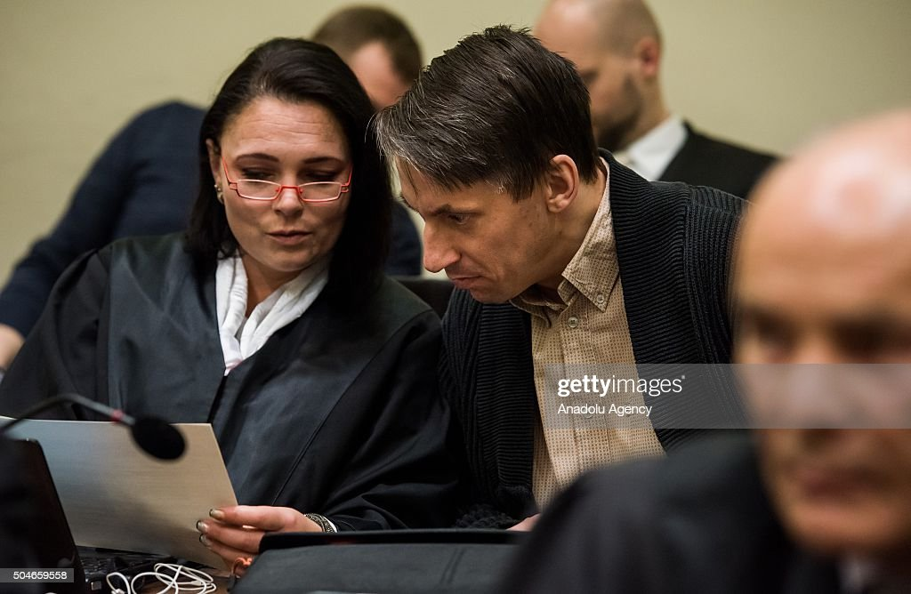 Codefendant Ralf Wohlleben and his lawyer Nicole Schneiders wait for NSU neoNazi murders trial in Oberlandesgericht in Munich on January 12 2016...