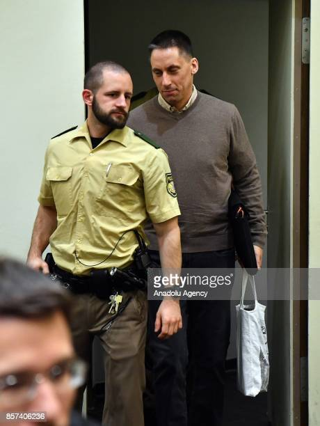 Codefendant Ralf Wohlleben arrives for NSU neoNazi murders trial in Oberlandesgericht in Munich on October 4 2017 Zschaepe and her lawers have...