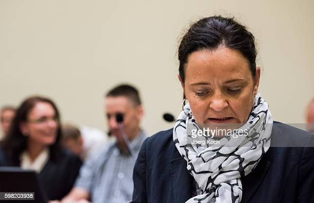 Codefendants Beate Zschaepe and Ralf Wohlleben wait for another day of the NSU neoNazi murders trial on September 1 2016 in Munich Germany Zschaepe...