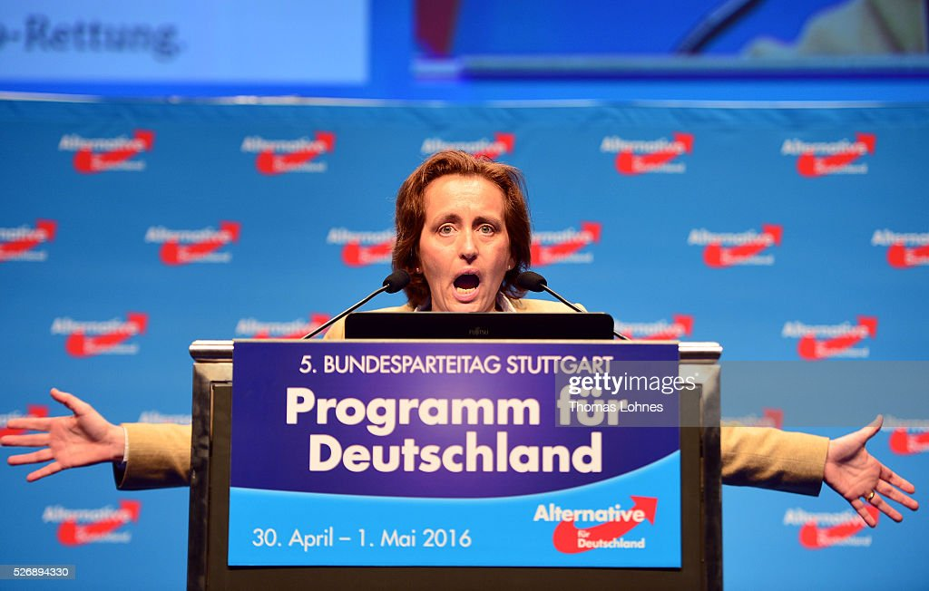 Co-deputy head of the Alternative fuer Deutschland (AfD) political party Beatrix von Storch speaks the delegates at the end of the party's federal congress on May 01, 2016 in Stuttgart, Germany. A server of the party had been hacked by a left political group and the addresses of AfD members has been published. The AfD, a relative newcomer to the German political landscape, has emerged from Euro-sceptic conservatism towards a more right-wing leaning appeal based in large part on opposition to Germany's generous refugees and migrants policy. Since winning seats in March elections in three German state parliaments the party has sharpened its tone, calling for a ban on minarets and claiming that Islam does not belong in Germany.