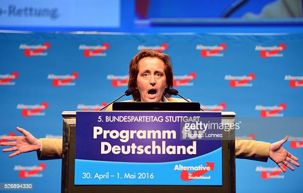 Codeputy head of the Alternative fuer Deutschland political party Beatrix von Storch speaks the delegates at the end of the party's federal congress...